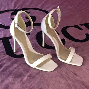 NEW Missguided square-toed white heels
